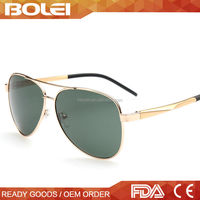 2015 gold fashionable wholesale pilot metal polarized custom logo sunglasses