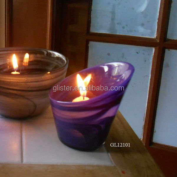 Colourful Alabaster glass tealight candle holder