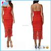 wholesale plus size women clothing strapless vestidos bodycon sexy high side slits backless red lace dress