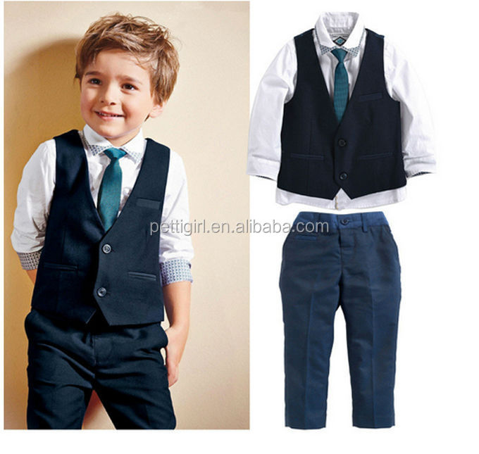 2016 Hot Sale Boys Clothing Set Denim Handsome Boys' Suit Gentlemen Formal Vest Waistcoat Children Wear 4PCS/SET CS41223-19