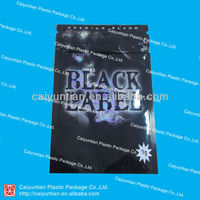 Black label herbal-incense spice packing/ smoke potpourri zipper bag/ insence smell packaging