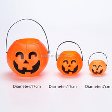 Halloween decoration pumpkin candy holders plastic pumpkin bucket led pumpkin night light