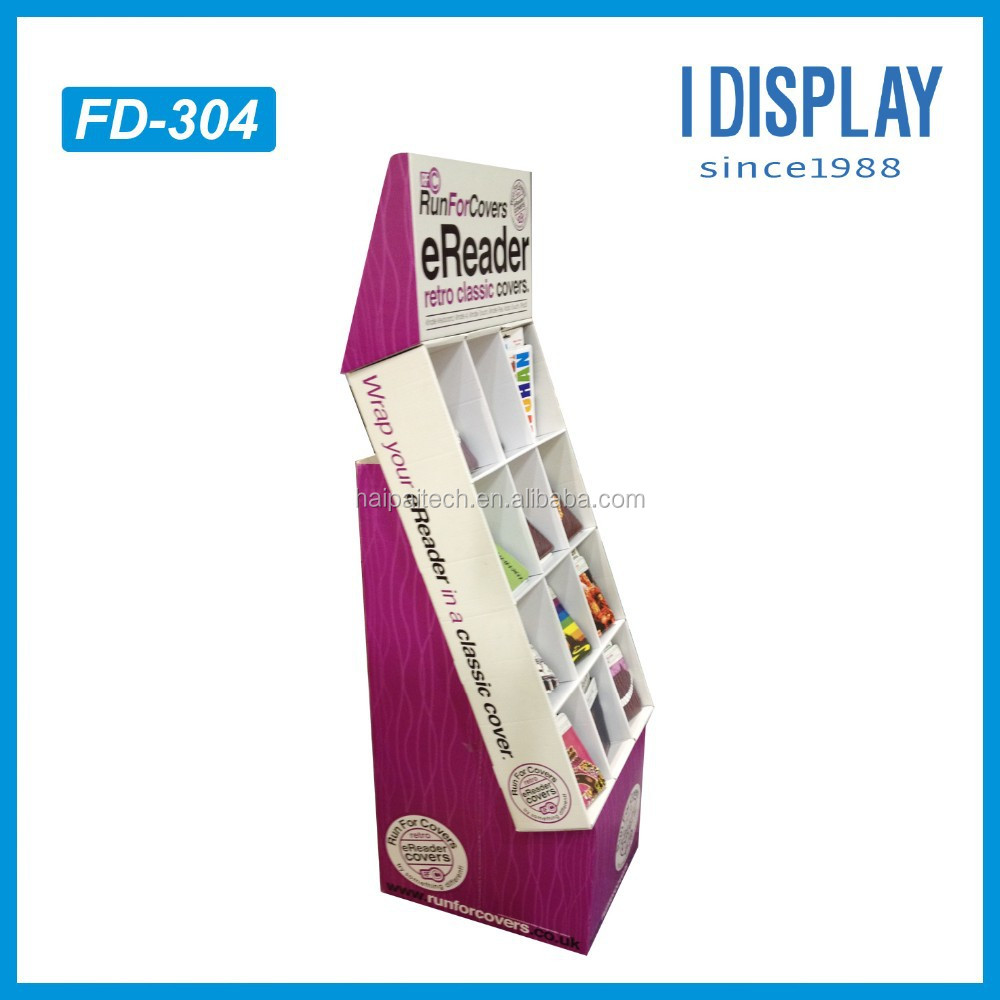 Compartment Customized Corrugated Cardboard Floor Display Shelf Rack For Ereader or Ipad Cover