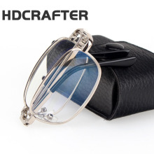 HDCRAFTER Brand Metal Frame Anti-fatigue Resin Lenses Folding Reading Glasses Women Men Foldable Presbyopia Eyewear