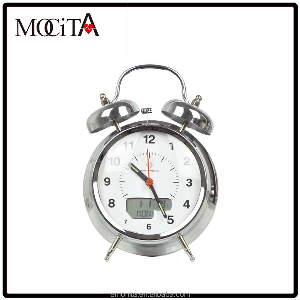 GOOD QUALITY ROUND TABLE TOP DECORATIVE METAL TWIN BELL ALARM CLOCK WITH RADIO CONTROLLED
