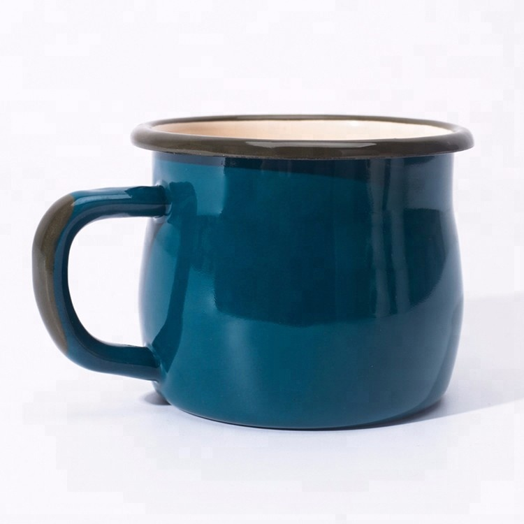 wholesale 8cm 9cm 10cm custom printed carbon steel metal camping mug enamel with gold and silver rim