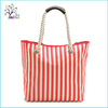 Promotional strip fashion rope cheap reusable canvas shopping bag