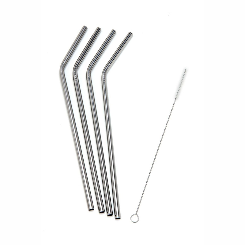 Reusable BPA Free Bent Stainless Steel Straw with Cleaning Brush