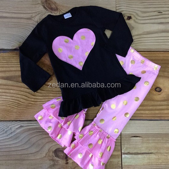 Baby Girl Clothes Fall Winter Toddler Infant Pink Heart Gold Dot Heart Clothing Ruffled Pants Boutique Outfit Birthday Gift
