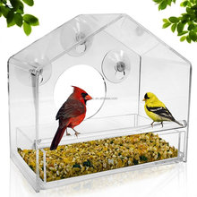Wholesale clear acrylic squirrel proof window wild bird feeder with sliding tray and suction