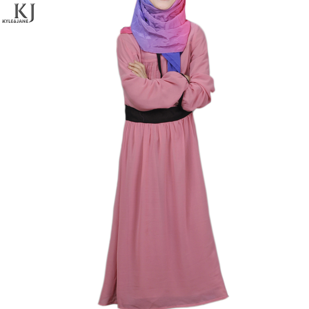 Turkish latest fashion mother and child plain color muslim soft chiffon fabric dress islamic clothing for small girl