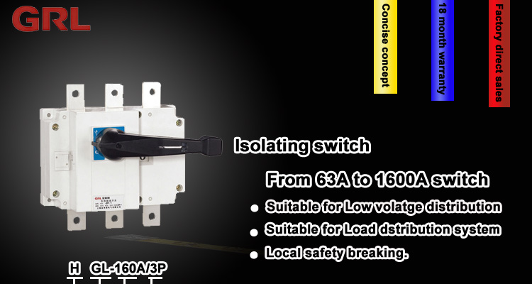 HGL low voltage 63amp isolating / isolation switch