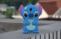 Fashional new arrival cute cartoon model silicon material Stitch 3D shape cover Case for Samsung Galaxy S4 i9500 protector in st