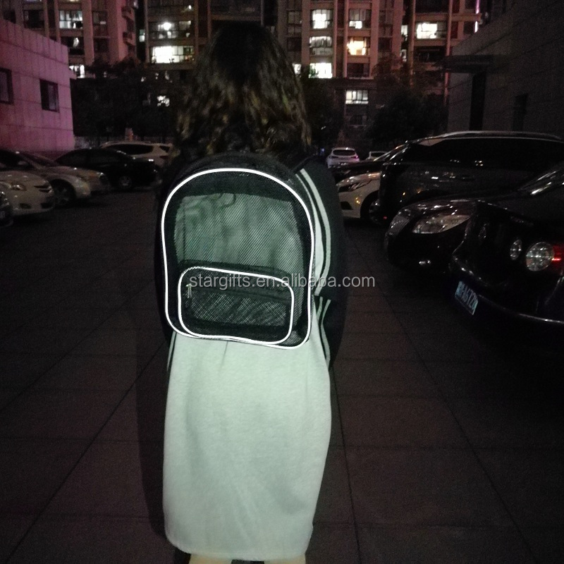 Factory Made Eco-friendly Breathable Polyester Reflective Mesh Backpack