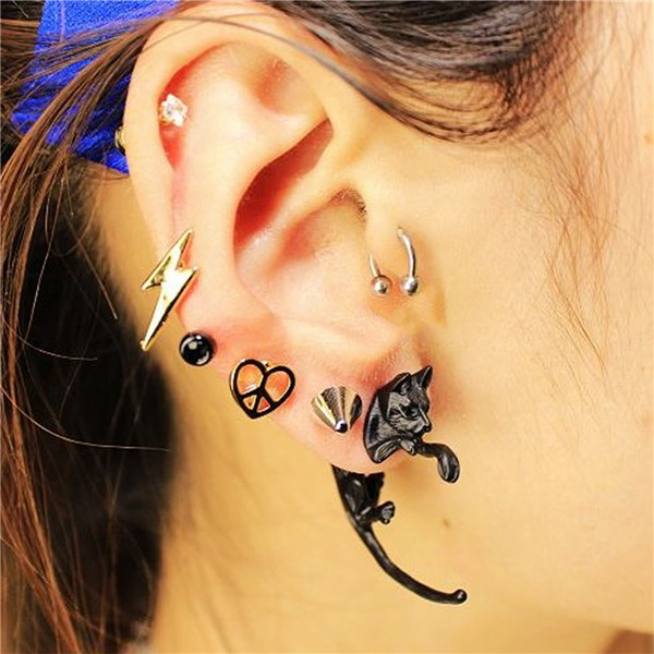Fashion Earrings Black Cat 3D Double Sided Ear Studs
