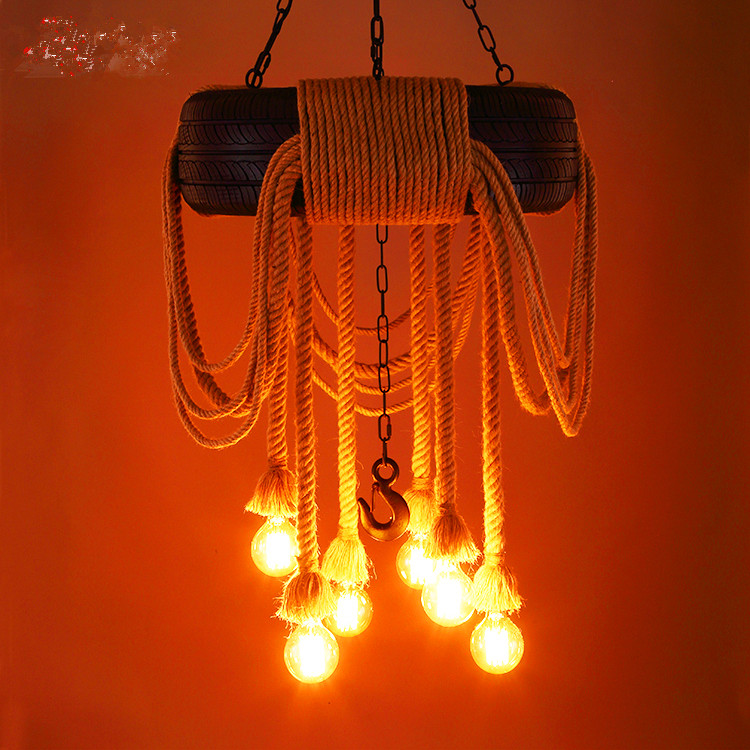 62CM Nordic Creative Tire Rope Droplight Industrial Vintage Lamp Loft Pendant Lights for Bar KTV Dining Room Lighting Lamparas