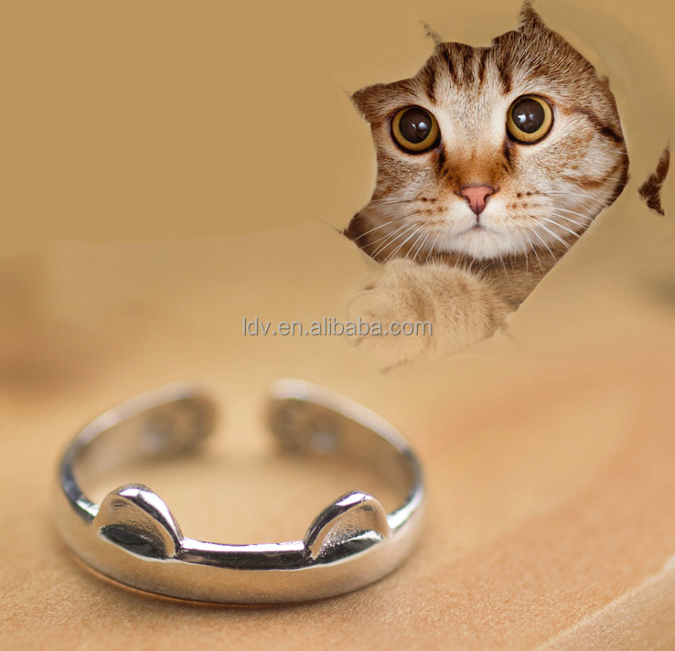 Latest design Open Dainty cute cat Ring in silver valentine for girl with gift box