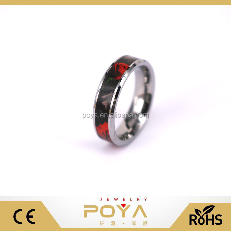 POYA Jewelry 6mm Tungsten Metal Ring Women's Camo Hunting Camouflage Wedding Band Red Rose