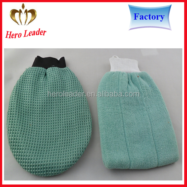 Factory price super absorption cleaning sponge gloves,chenille wash mitt with sponge