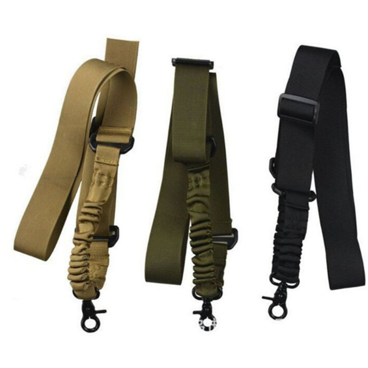 Multi-function Nylon Adjustable Tactical single point Bungee Airsoft Sling Strap Army Green Black