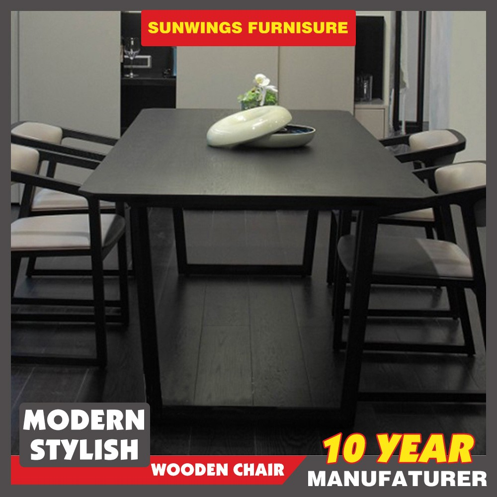 China cheap restaurant furniture mdf dining table in black color