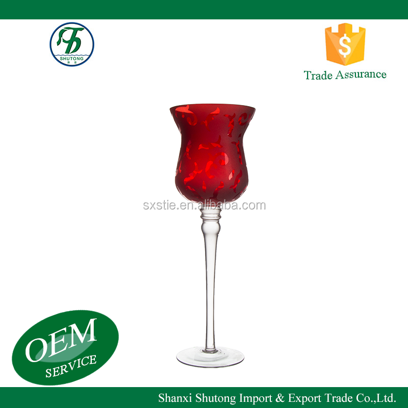 Handmade votive goblet long-stemmed red glass candle holder for wedding table centerpieces