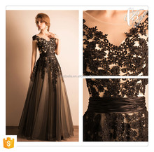 Elegant Sexy Black Lace Design Maxi Dress Preto Vestido de Noite Elegant Evening Dress