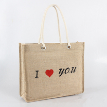 Eco friendly fashionable silk screen printing customized jute tote shopping bag