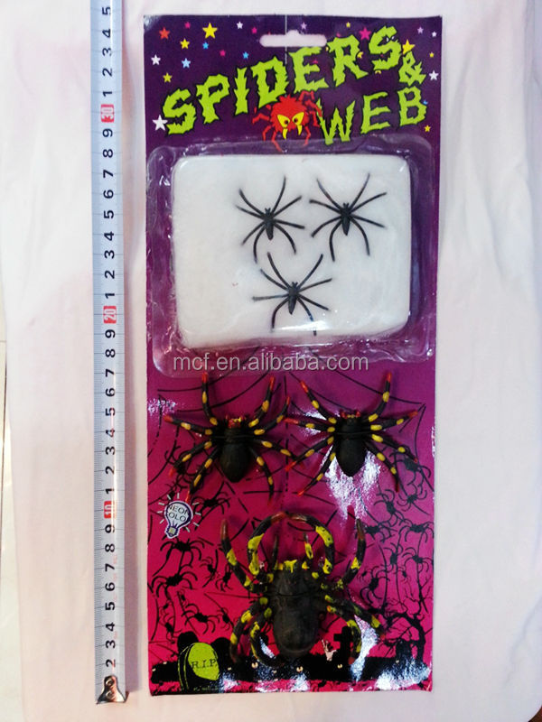 Party Halloween prank toys small spider & web HAL-0094