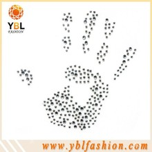 wholesale palm design iron on rhinestone appliques cheap clear