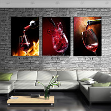Fine Art Gallery Quality 3 Panel Red Wine Bottle Glass HD Oil Painting for Bar Decoration Large Canvas Photo Prints