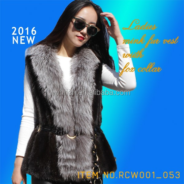 Women's elegant style real mink fur vest with grey fox collar