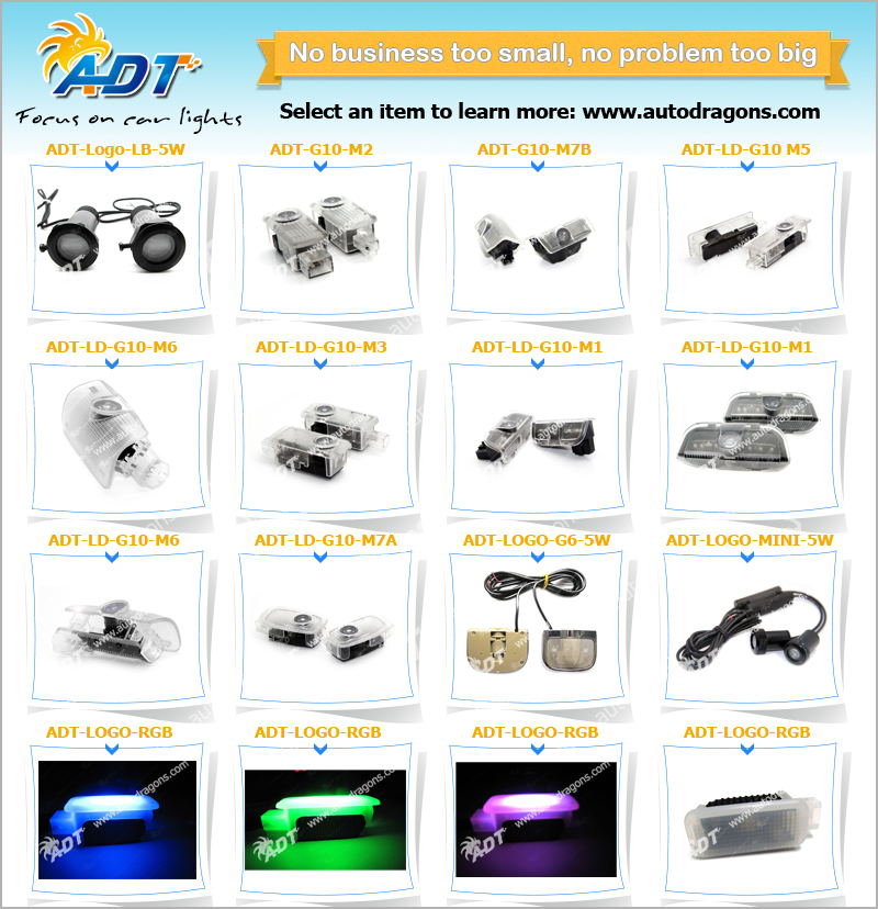 2014 New plug and play LED Ghost Shadow Light Replacement for BMW for Audi for VW for Mercedes