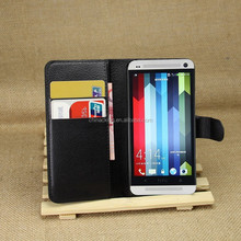 Wallet Style PU Leather Cover 2 Credit Card Stand Flip Case For HTC One M7