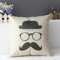 2015 China factory supplies wholesale alibaba selling well soft new design 100% cotton mustache Washable Pillow Cases