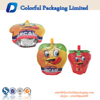 Plastic drink bag stand up packaging bag food spout pouches with logo print for liquid