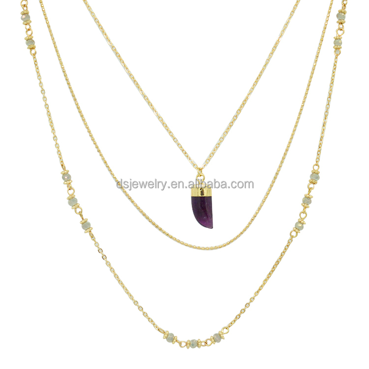 Amethyst resin pendant elephant teeth shape multilayer gold <strong>necklace</strong> designs in 10g
