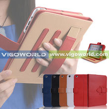 Leather Case Cover and Flip Stand With Elastic Hand Strap For iPad Mini