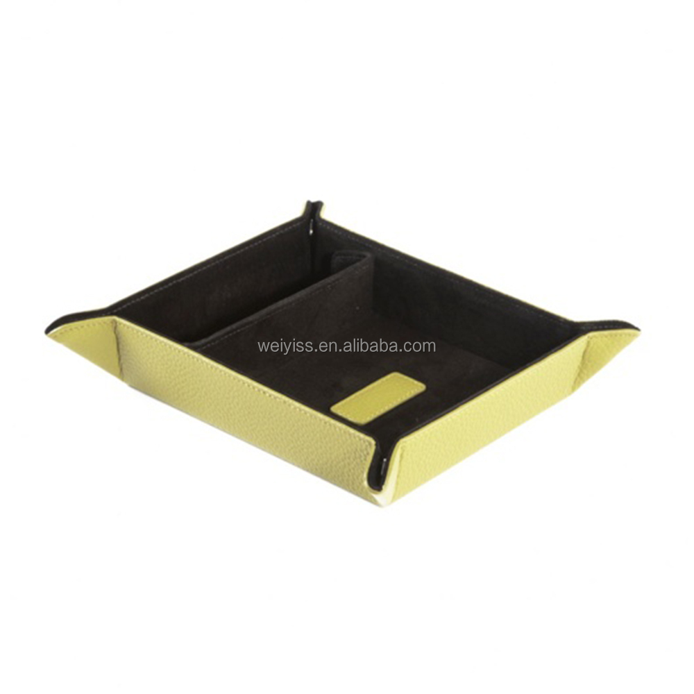 New Design Snap Leather Travel Valet Tray for Hotel, Coin Caddy Leather Valet Tray with Separate Interior Compartment