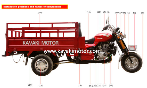 Guangzhou KAVAKI Factory 150cc Gasoline Engine Wuyang 3 Wheel Tricycle +86-15217691767