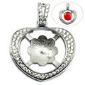 Beadsnice ID30849 925 sterling silver jewelry heart micro pave 24.5x19mm fit 8.5mm round gemstone tray pendant settings