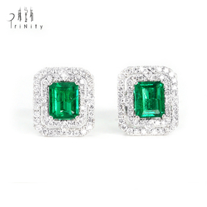 Natural Emerald Diamond, Real Gemstone Gold Jewelry, Wholesale Supplier Jewelry Earrings