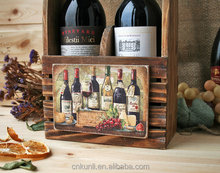 Custom logo solid wooden wine tote wood bottle carrier 2 pack caddy