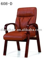 leather wooden frame chair 608-D visitor wooden chair