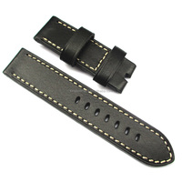 Top grade Handmade black leather watch band