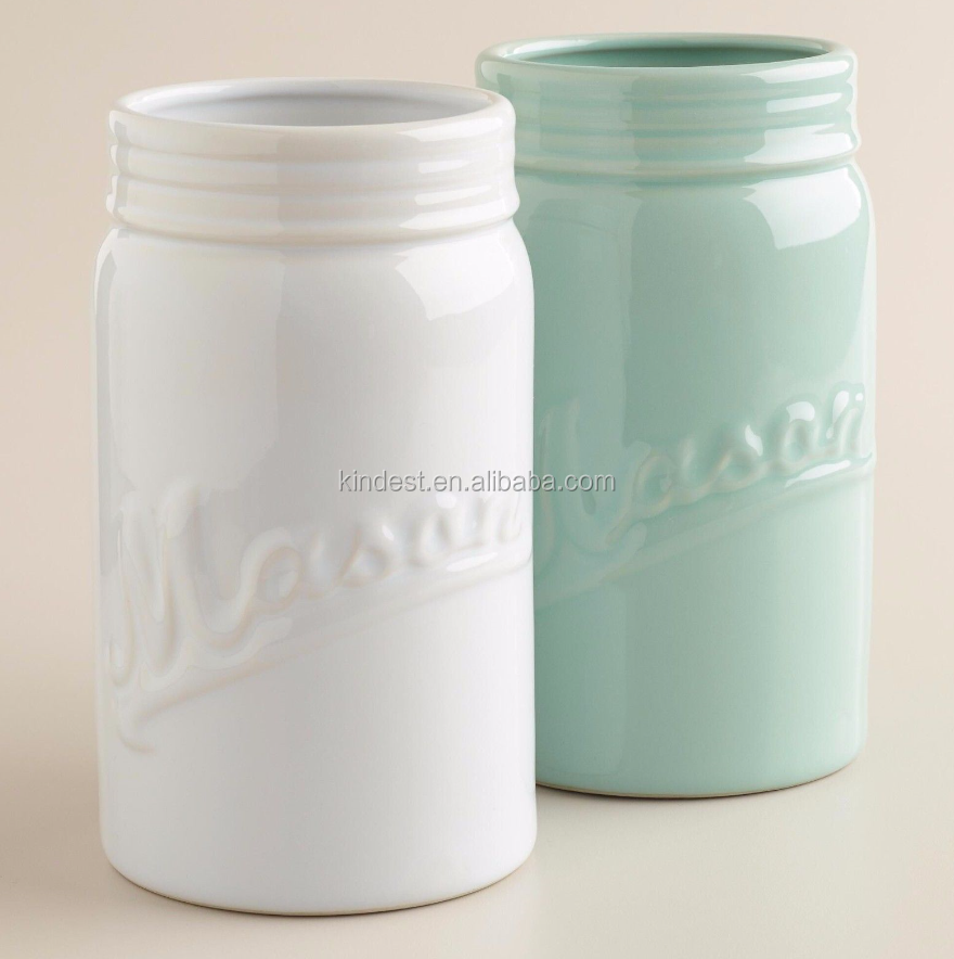 "Set of 2 Mason Jar Ceramic Vases 1 Aqua Blue 1 White 7"" x 4 1/2"""