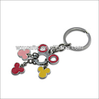 Mickey Mouse Charms Keychain With Colorful Enamel,Chromium Plated Alloy Keyring