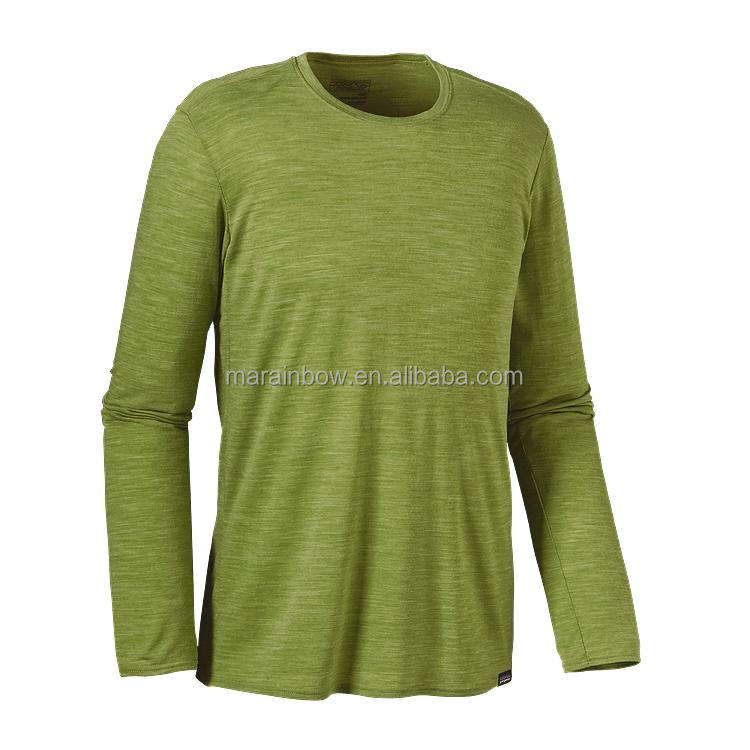 technical performance dry fit Camo green heathered cotton Men's long-sleeved daily t-shirt custom sports fitness and outdoor