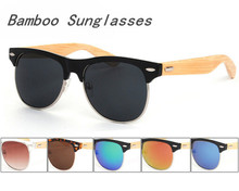 Cheap Natural Wooden Sunglasses Vintage Half Frame Bamboo Sunglasses Wholesale