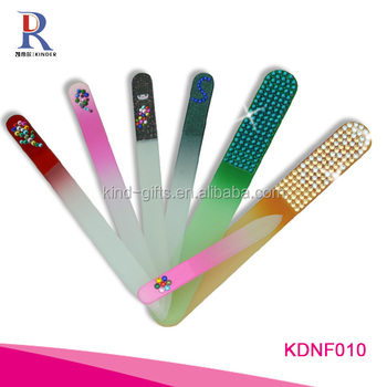 Best seller shining bling rhinestone nail care tools two-sided colorful nail file
